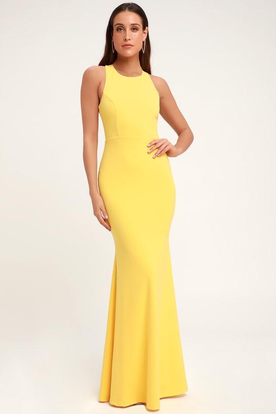 68d3e3cb4eb1 Sexy Yellow Maxi Dress - Backless Dress - Backless Maxi Dress