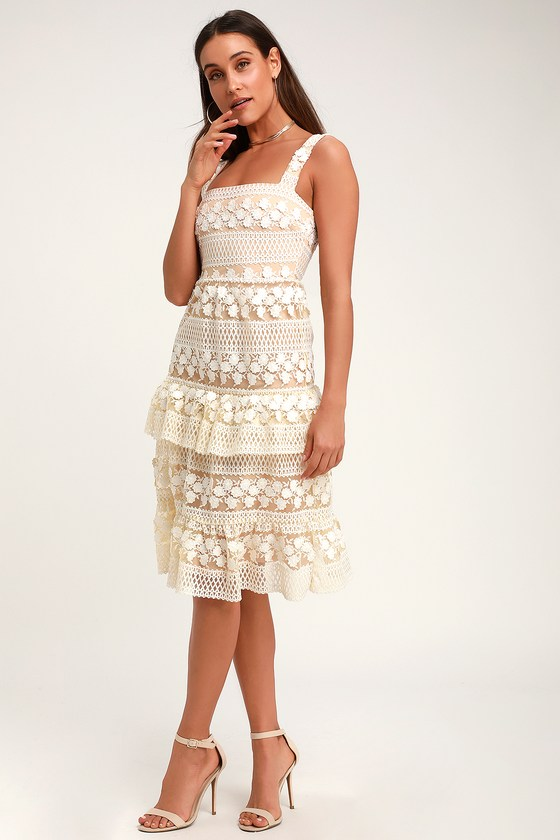 Ethereal White And Nude Lace Midi Dress