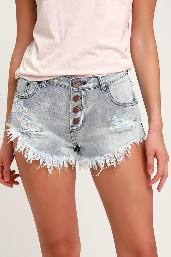 Brandos Light Wash Distressed Denim Shorts by One X One Teaspoon