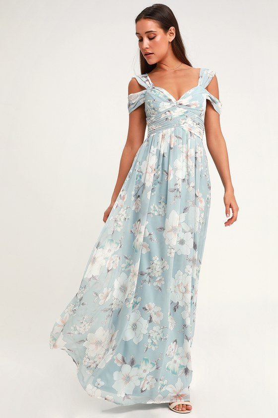 a0785e2a748 Lovely Light Blue Floral Print Dress - Floral Maxi Dress - Gown