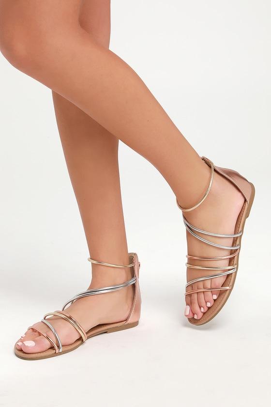 eec04d0b4a3a Cute Rose Gold Sandals - Gladiator Sandals - Metallic Sandals