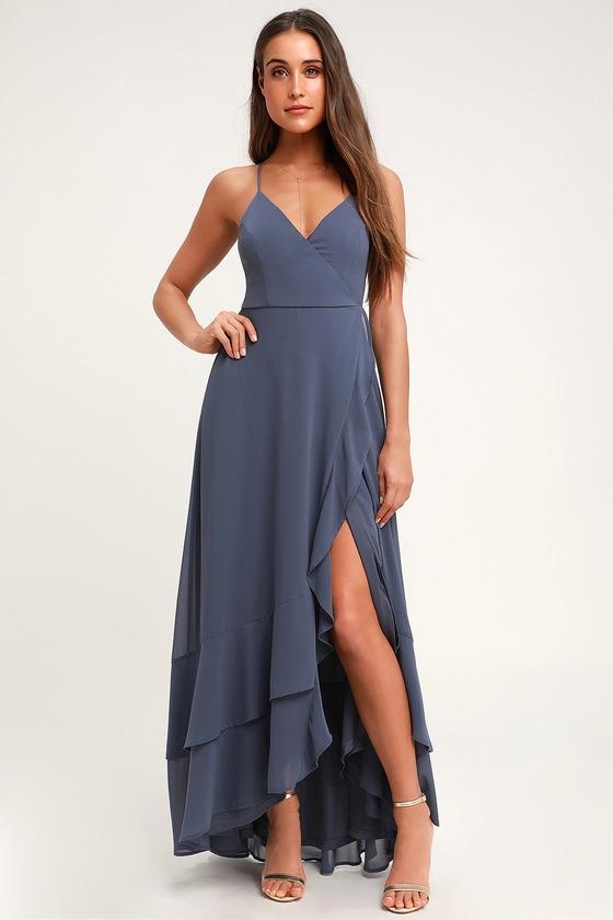 dc8937c697 Glam Slate Blue Wrap Maxi Dress - Blue Lace-Up Ruffle Maxi Dress