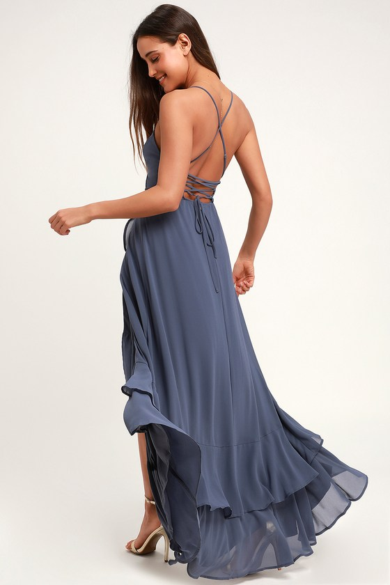 143ed4936 Glam Slate Blue Wrap Maxi Dress - Blue Lace-Up Ruffle Maxi Dress