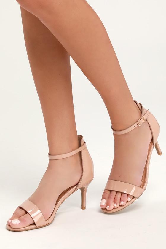 Chic Patent Heels - Nude Heels - Vegan Heels