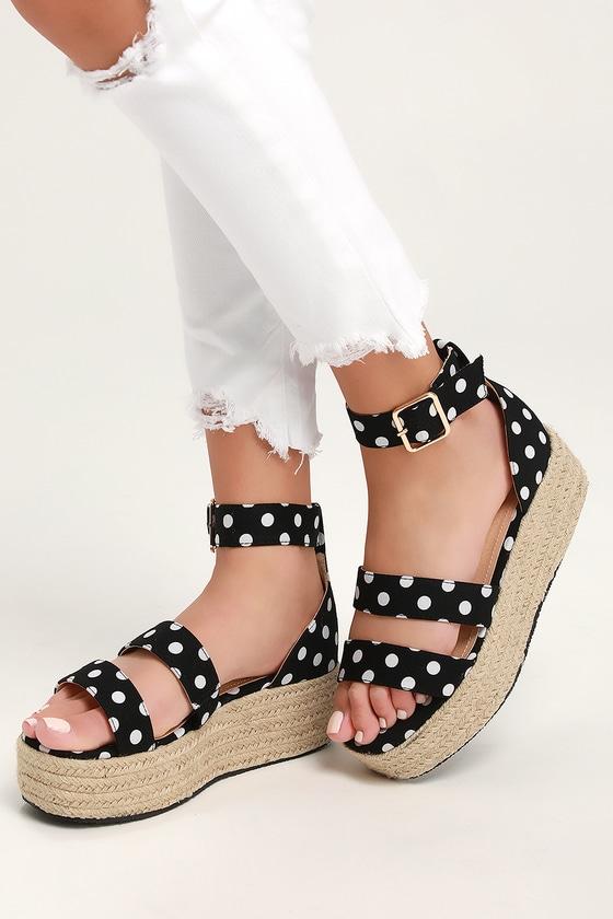 d6cb5f13b81f Black Polka Dot Espadrille Platform Sandals - Dual Strap Sandals
