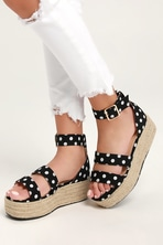 41fc1885dbc Cute Black Sandals - Espadrille Sandals - Platform Espadrilles