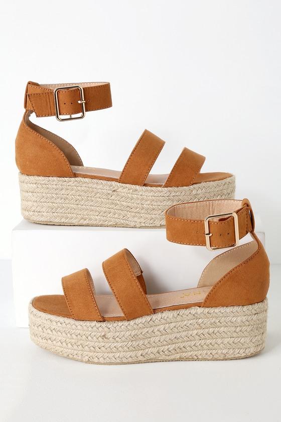c5096755e Camel Suede Espadrille Platform Sandals - Dual Strap Sandals