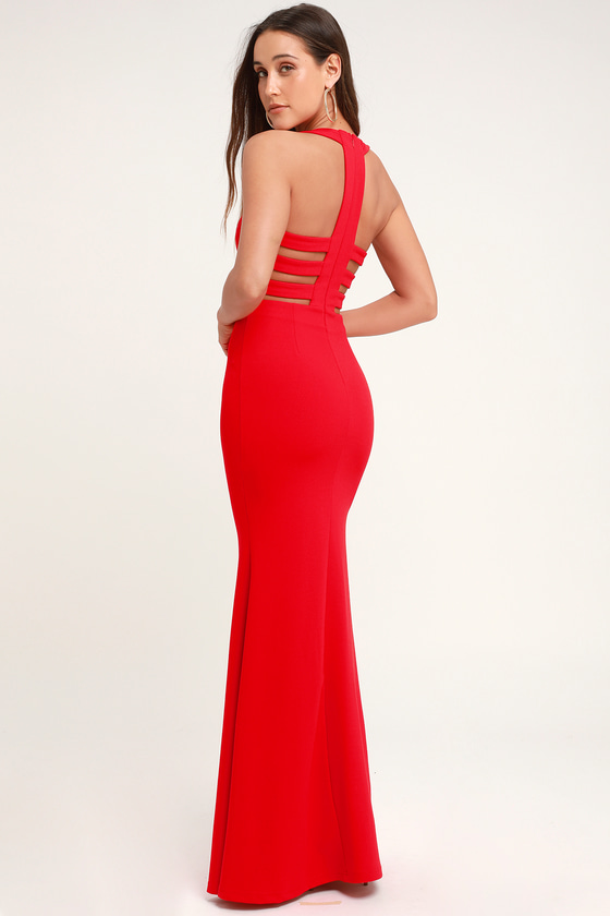 Power of Wow Red Backless Maxi Dress