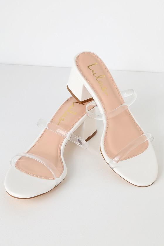 f7ca63e56e44 Chic White Mules - Clear Vinyl Strap Heels - Clear Vinyl Heels