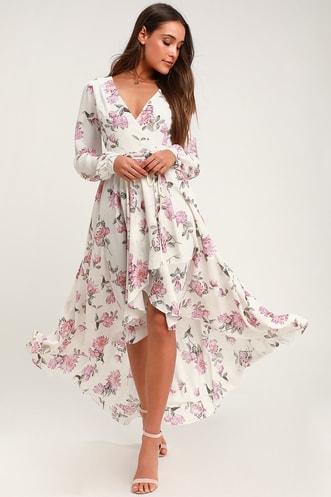 6f736e7d69 Let It Be White Floral Print Wrap Maxi Dress