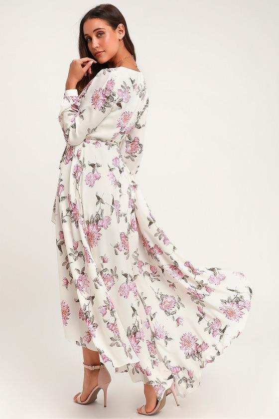 c5a150558ef Pretty White Chiffon Maxi Dress - Chiffon Floral Wrap Dress