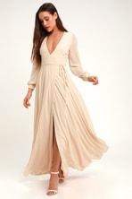 9cd7205bf6199 Lovely Beige Dress - Maxi Dress - Long Sleeve Dress - $64.00