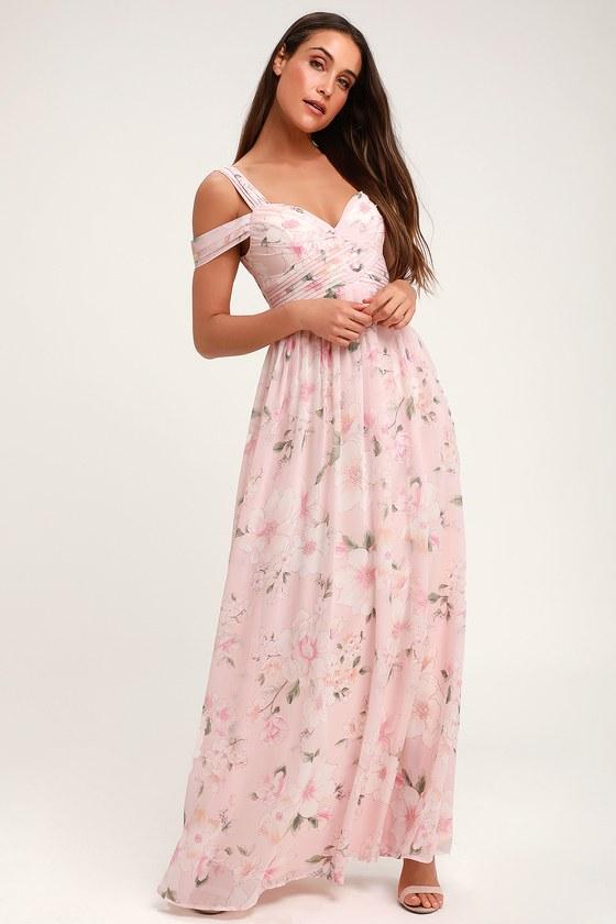 883245571d Lovely Light Pink Floral Print Dress - Floral Maxi Dress - Gown