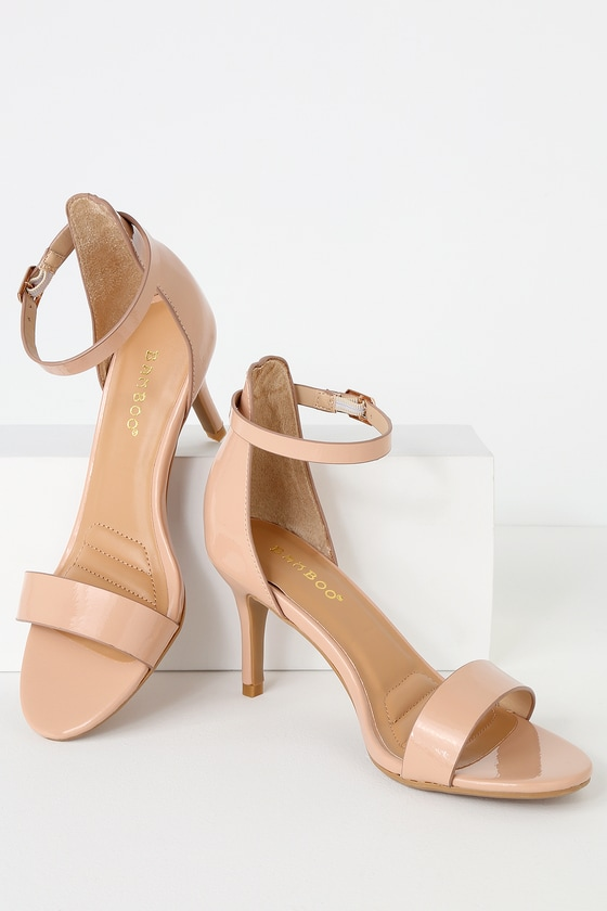 99eb9b368fa6 La Bella Nude Patent Ankle Strap Heels by Lulu s