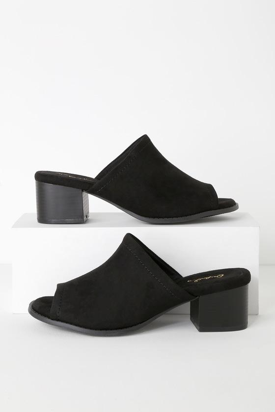 Cute Black Mules - Peep-Toe Mules