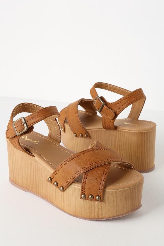 c0a8295c5d5 Cool Cognac Burnish Sandals - Flatform Sandals - Retro Sandals