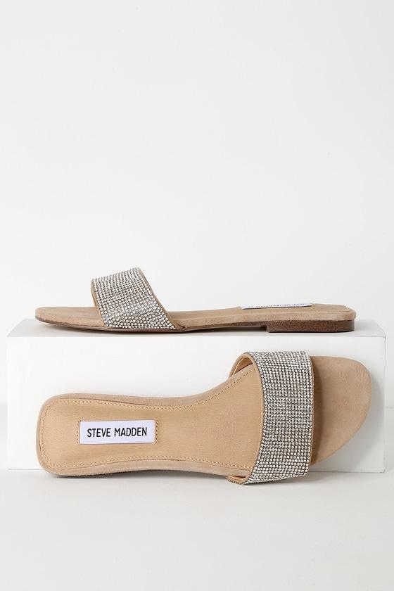 3e726e2cc8 Steve Madden Bev - Beige Suede Sandals - Rhinestone Slide Sandals