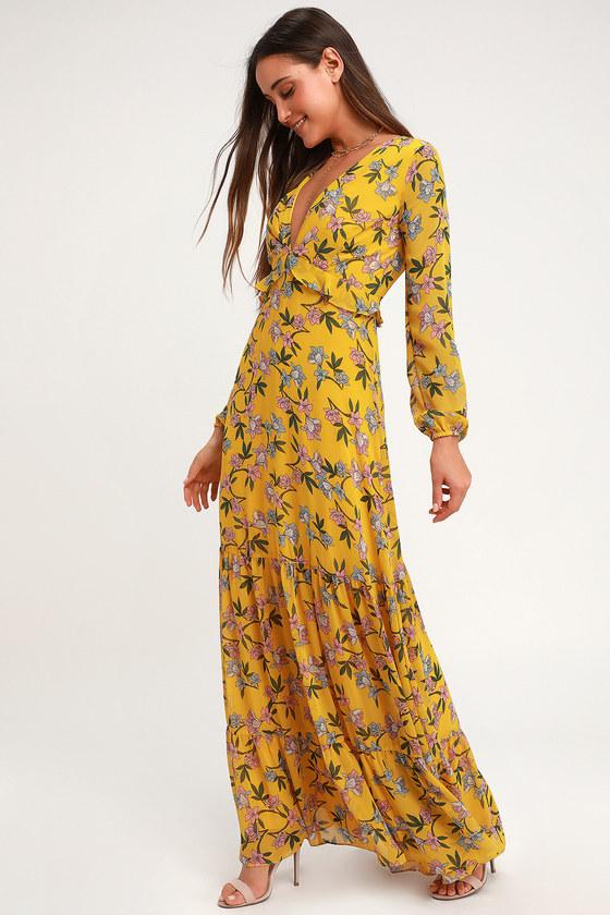 4618d371cbd Cute Yellow Maxi Dress - Floral Print Maxi - Long Sleeve Maxi