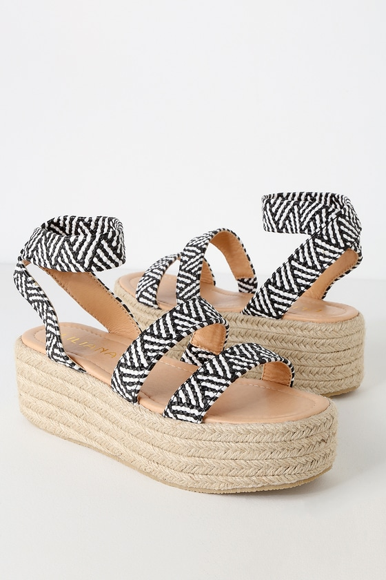 Flatform White Espadrille Sandals Black And Jessi ED9I2WH