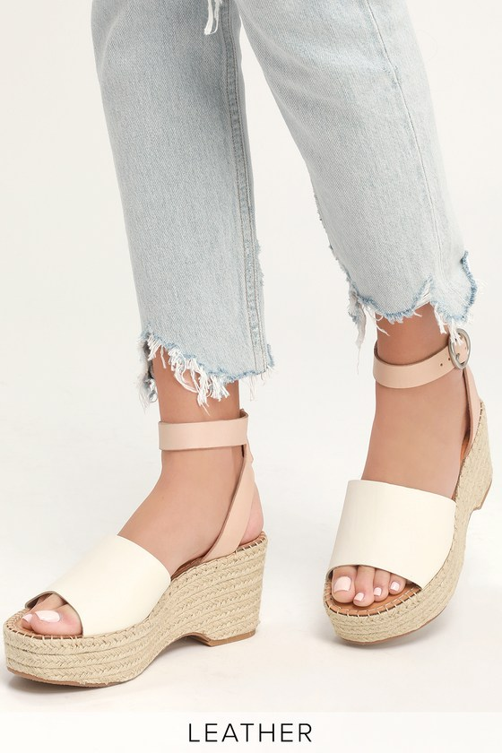 7f20e2bb774 Lesly White and Nude Espadrille Wedges