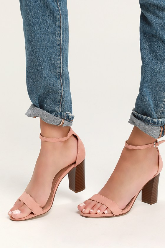 57b57e13a5 Madden Girl Bella-S - Champagne Heels - Suede Ankle Strap Heels