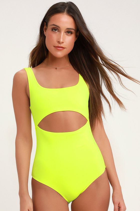 available preview of provide plenty of Lightning Bolt Neon Yellow One-Piece Swimsuit