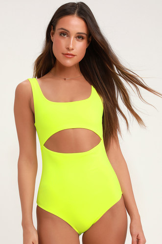 c913910be0491a Lightning Bolt Neon Yellow One-Piece Swimsuit