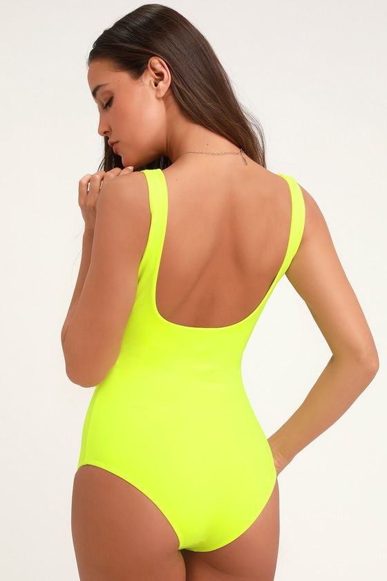 06afb27aa5ac Sexy Neon Yellow One-Piece - Front Cutout One-Piece - Swimsuit