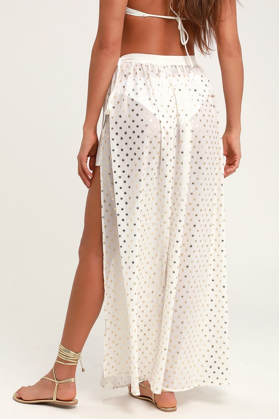7375b381be Lovely White Swim Cover-Up - Sheer Maxi Skirt - Polka Dot Maxi