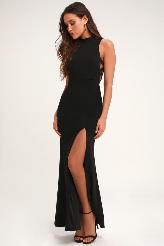 0ad42e4622a Stunning Black Maxi Dress - Mock Neck Dress - Cutout Dress