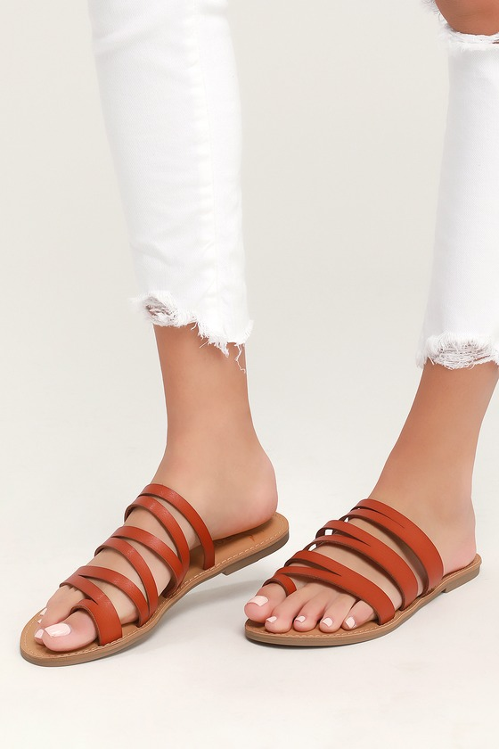 7fc402fba4e Cute Tan Sandals - Slide On Sandals - Strappy Sandals