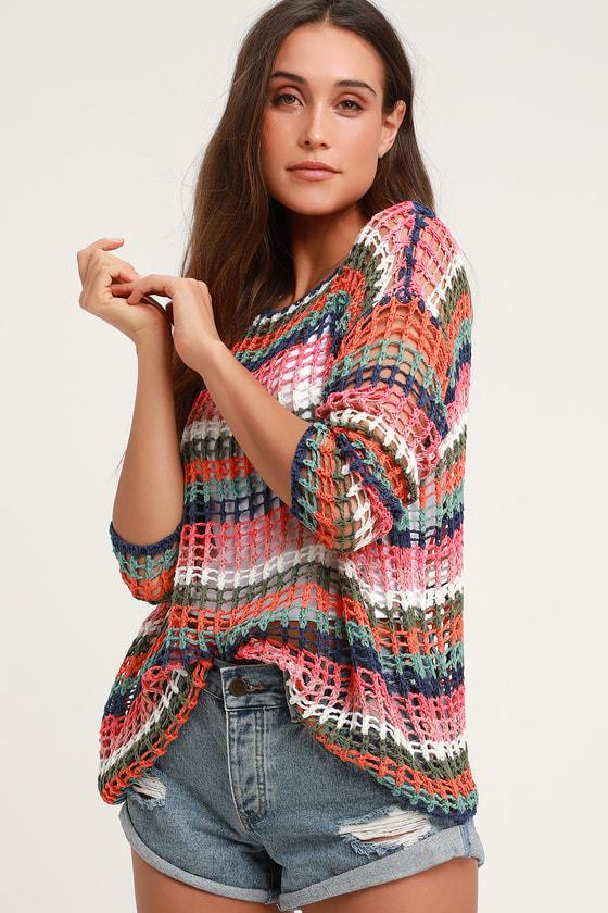 Linda Leigh Navy Blue Multi Striped Crochet Sweater Top
