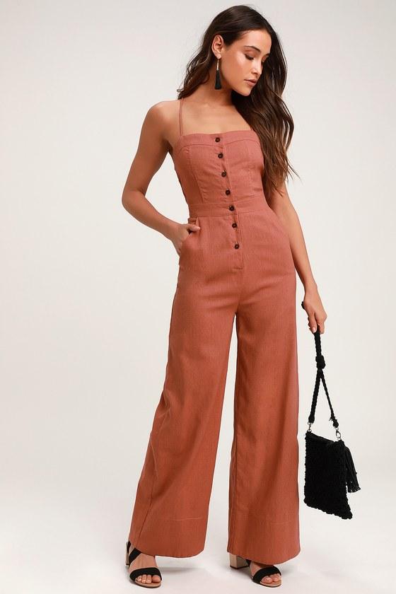 934dd91a637a Rusty Rose Jumpsuit - Lace-Up Jumpsuit - Backless Jumpsuit