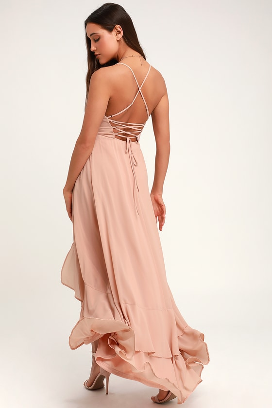 cd05373798 Glam Nude Wrap Maxi Dress - Lace-Up Dress - Ruffle Maxi Dress