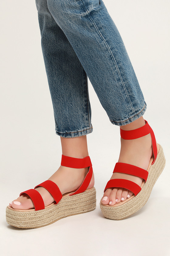 b8eca7e74a84 Cute Red Sandals - Espadrille Sandals - Platform Espadrilles