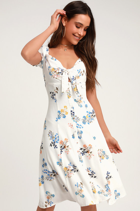 d6bed5fda8c Ida White Floral Print Tie-Front Midi Dress