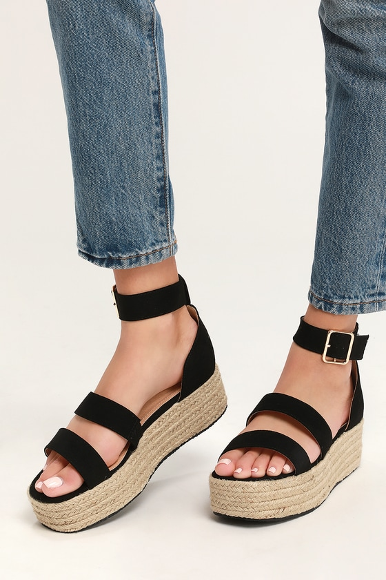 Black Suede Espadrille Platform Sandals - Dual Strap Sandals