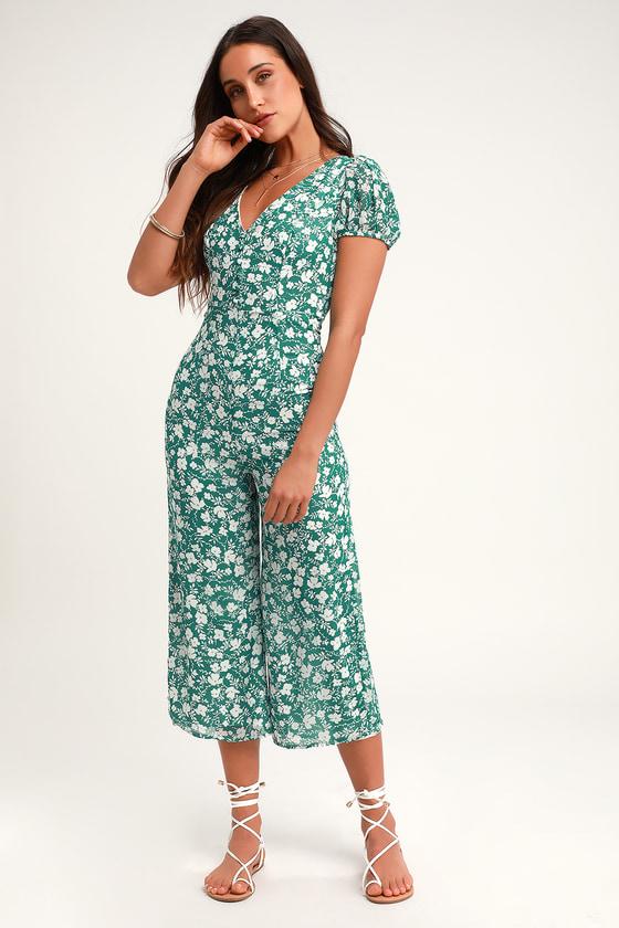 467500a709b0 Cute Green Floral Print Jumpsuit - Wide-Leg Jumpsuit - Culotte