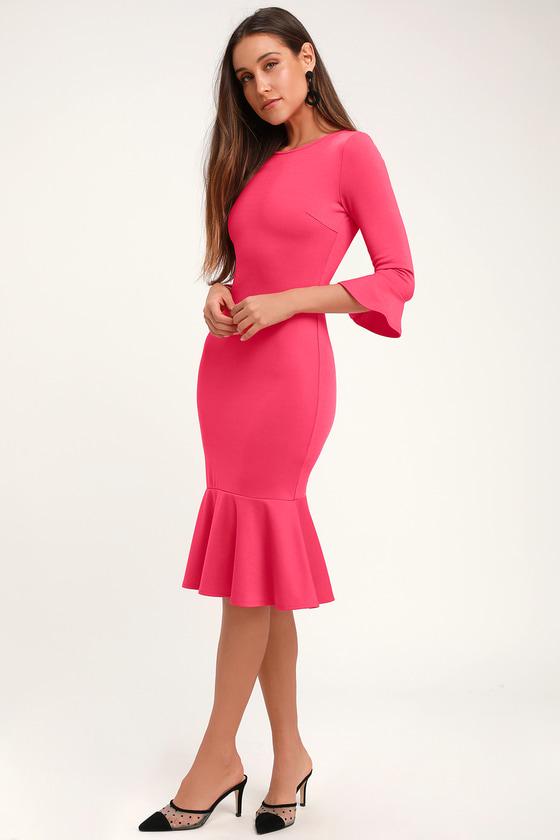 af5b241359d1 Cute Fuchsia Dress - Bodycon Dress - Flounce Sleeve Dress