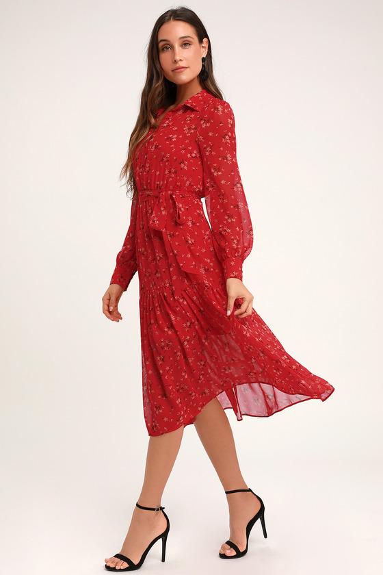 1b85567cb24de Cute Red Floral Print Dress - Floral Midi Dress - Collared Dress