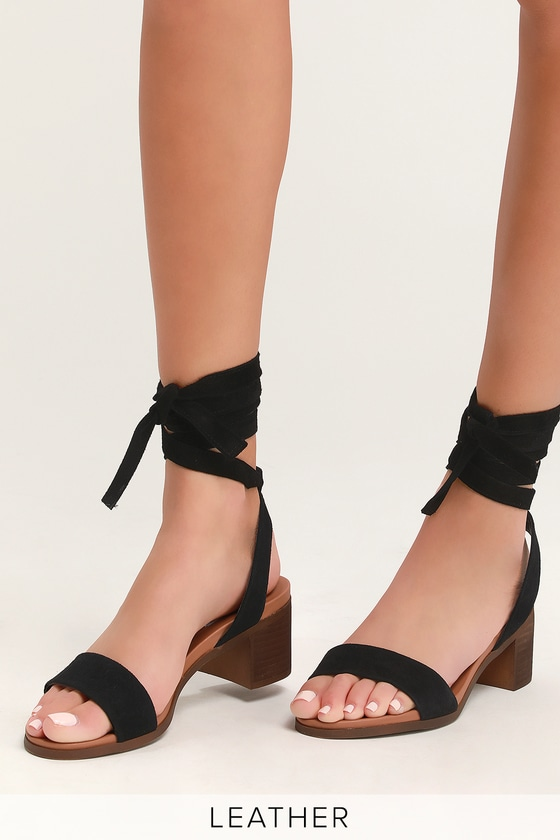 8502eff1e65 Adrianne Black Suede Leather Lace-Up Heels