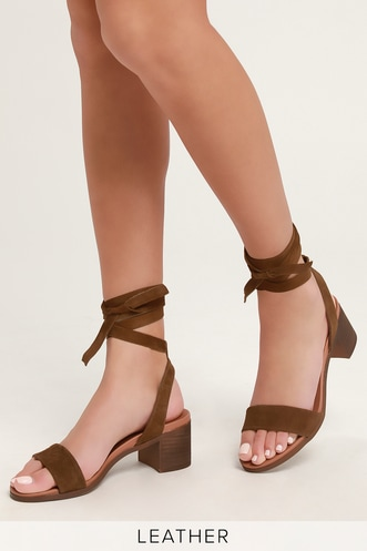 ae2a782503b0 Adrianne Chestnut Suede Leather Lace-Up Heels