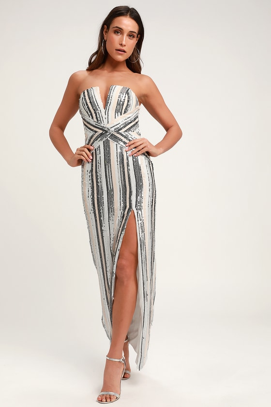 6cb70a7a Strapless Dress - Silver Striped Sequin Dress - Sequin Maxi Dress