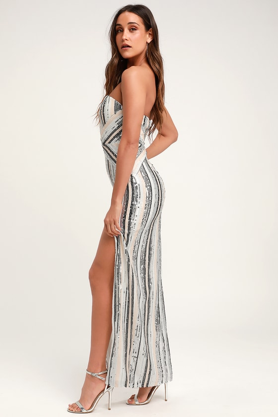 ac8252ce1f Strapless Dress - Silver Striped Sequin Dress - Sequin Maxi Dress