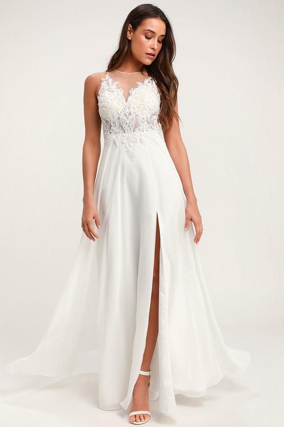 Moonlight Lover White Beaded Maxi Dress