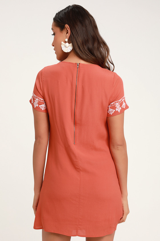535bbe6eea Cute White and Orange Dress - Embroidered Dress - Shift Dress