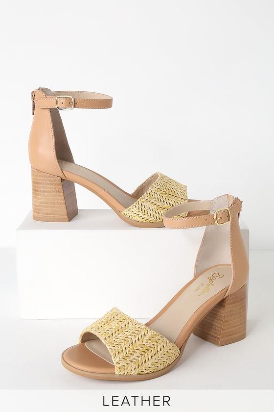 0731f7c0c94 Seychelles Iconic - Raffia Heels - Ankle Strap Heels - Block Heel