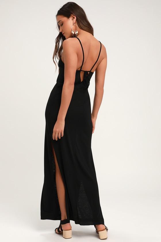 22b34b2af47 Cute Black Maxi Dress - Twin Side Slit Maxi Dress - Knit Maxi