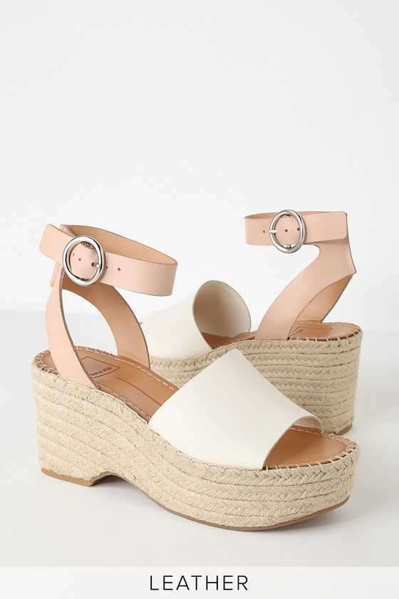 44be15a9d3d6d Lesly White and Nude Espadrille Wedges