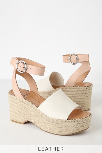 0954a9a9071 Lesly White and Nude Espadrille Wedges
